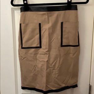 Club Monaco Khaki Pencil Skirt w/Faux Leather Trim